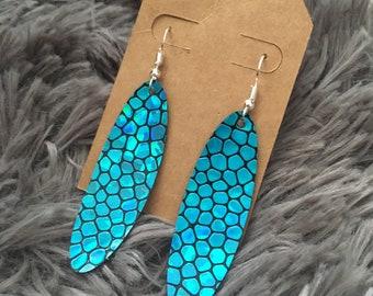 Turquoise cobblestone oval earrings