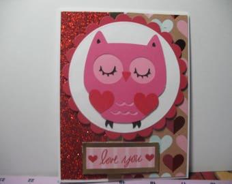 Glittery Owl Valentine's Day Card