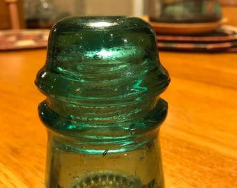Vintage Hemingray No. 16 Glass Electric Insulator/ Green