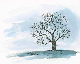Winter tree #1: pen and ink drawn with a stick, with an ink wash. Unframed