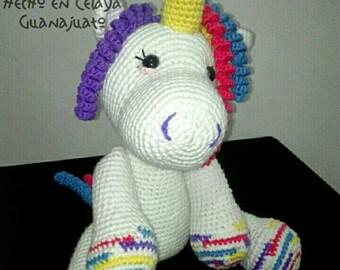 Unicorn Amigurumi crochet Teddy yarn girl Nina yarn hand-knitted
