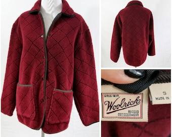 Vintage Fleece Woolrich, Vintage Woolrich Jacket, Vintage Fleece Jacket, Women's Fleece Jacket, Burgundy Fleece Jacket, Burgundy Woolrich