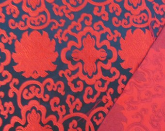 Chinese brocade satin fabric material red wealthy flwoer on black embroidered by the 0.5 YARDS, Yards Meters cbs 2014