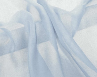 Super soft Pure Mulberry Silk Solid light bluebell blue  pure silk chiffon fabric material sheer # hac 20,