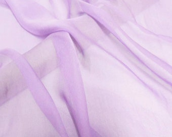 Super soft Pure Mulberry Silk Solid light orchid pure silk chiffon fabric material sheer # hac 33,
