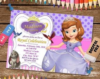 ON SALE 30% Sofia the First Invitation. Sofia the First Birthday Party Invitation. Sofia the First Printable. Princess Sofia Invitation