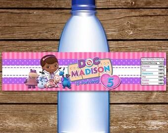 ON SALE 30% Doc McStuffins Water Bottle Label. Printable Doc McStuffins Water Labels. Doc McStuffins Birthday. Doc McStuffins Wrappers.