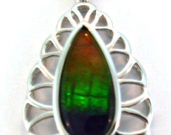 Unique Long AAA Canadian Ammolite Pendant set in sterling silver