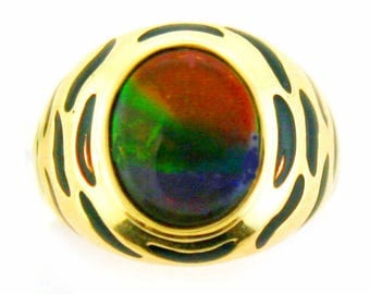 Tiger Style AAA quality Canadian Ammolite set on 14k Yellow Gold