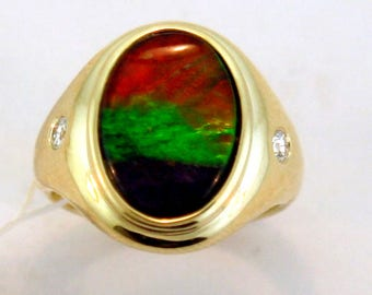 AAA Quality Ammolite and Diamond 14k Yellow Gold RIng.