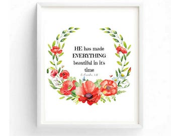 He has made everything Beautiful in it's time Printable Digital Christian Wall Art Biblical Scripture Quotes Floral Print Church Wall Decor