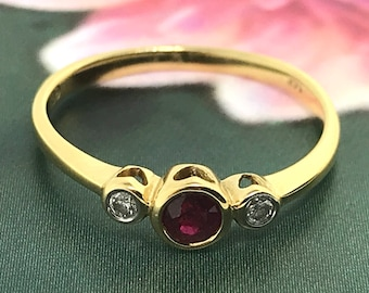 Petite and Pretty Ruby and Diamond Ring - 14 K Yellow Gold