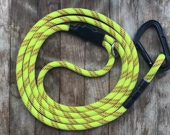 Carabiner dog leash / Climbing rope leash / Yellow dog leash with climbing carabiner