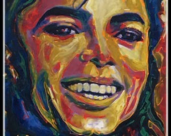 "Reyaz Nadi - Michael Jackson king of Pop Acrylic on canvas 48""x32"" framed"