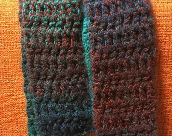 Blue and Red Multicolored Crochet Scarf