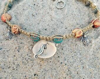 Seahorse/ Turtle Hemp Anklet