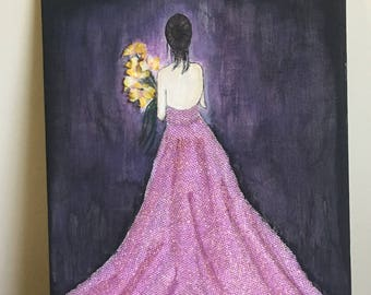 Painting of a girl on a canvas