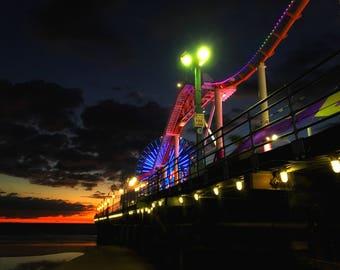 Friday Night Lights - Santa Monica Pier on a Stormy Friday Night - Photography Print