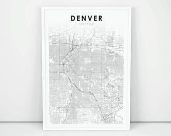 Denver map Etsy