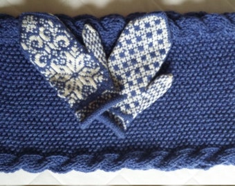 Hand knitted  blue and white women's scarf and gloves-Gift for her-Women gift-Birthday gift-Warm-Soft-Set-Knit accessories