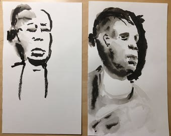 Set of Two Original Ink Drawings of a the Same Woman in the Boston Subway
