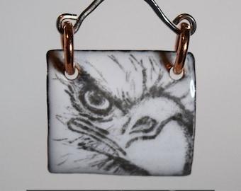 Sketched Eagle Close Up Enamel Pendant