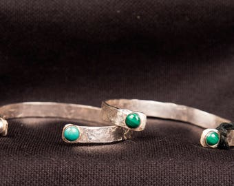 Sterling Silver Cuff Bracelet with natural stones turquoise or malachite