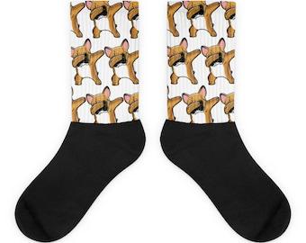 Funny Dabbing French Bulldog Socks, Cute Fawn French Bulldog Gift, Dog Dab Dance Print