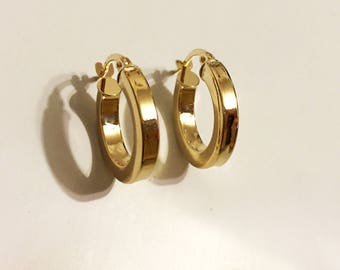 14k solid yellow gold(15mm)full moon hoop earrings