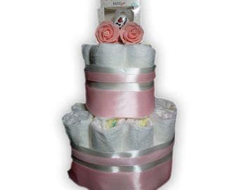 Diaper cake-incl. Bibi pacifier-as a gift wrapped-maternity gift-baby shower-2 coats/layers-pink-pamper
