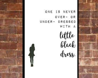 Little Black Dress A4 Typography Wall Print