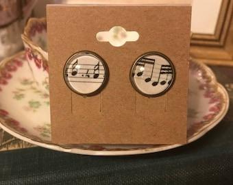 Music Note Earrings, sheet music under glass