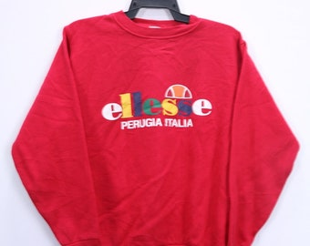 Vintage Ellesse Perugia Italia Sweatshirt Big Logo Spellout Medium size Red Colours