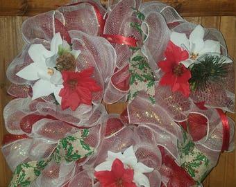 Christmas wreath with poinsettia