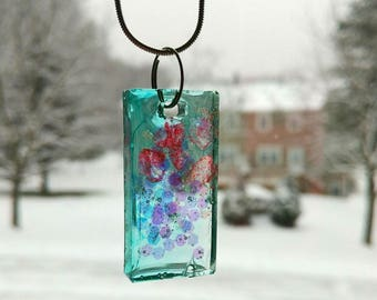 Rectangle resin necklace