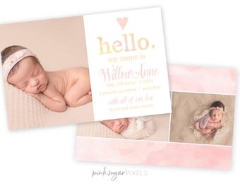 Watercolor Baby Announcement Template - Printable Announcement Card - Birth Announcement Template- Template for Photographers-Baby