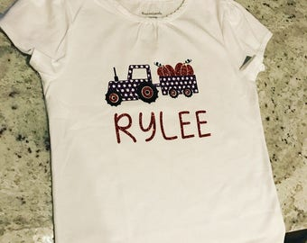 Girls shirt for fall, girls tractor shirt, John Deere birthday shirt, customized tractor shirt