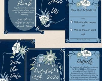 Seaside Floral Wedding Suite - Navy Blue Wedding Invitations - Blue Floral Stationary - PDF Download + Customize - DIY Save the Dates