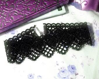 Gothic lolita necklace, victorian choker, black venice lace