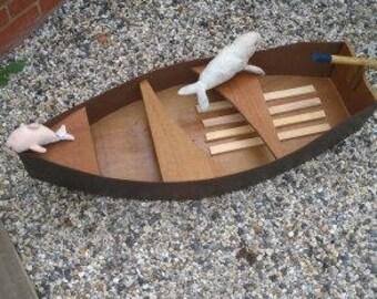 wooden boat garden / rowing boat/photo prop/garden ornament/shop display unusual