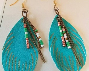 Turquoise Faux Feather Beaded Dangle Earrings