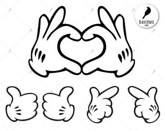 Mickey hands svg, Disney love svg, Mickey love clipart, Disney hands clipart, cricut silhouette – eps, dxf, png, pdf, svg – cut files
