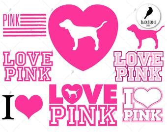 Love pink svg, pink love svg, love pink clipart, pink love clipart, love dog svg, cricut silhouette – eps, dxf, png pdf, svg – digital files