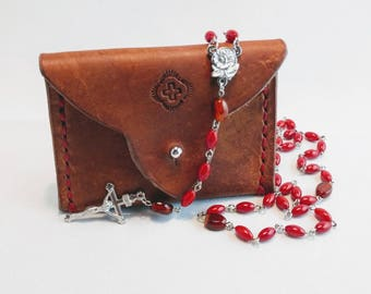Handmade rosary and pouch