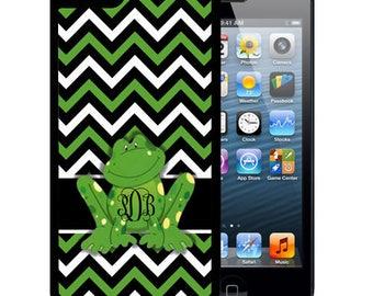 Monogrammed Rubber Case For iPhone X, 8, 8 plus, 7, 7 plus, 6s, 6s plus, 5, 5s, 5c, SE - Green Frog Chevron