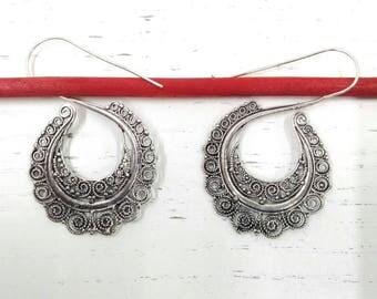 Tribal ethnic style spiral earrings