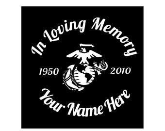 In Loving Memory Vinyl Decal, Car Decal, Marines, Window Decal, Soldier, Military, Marine Soldier