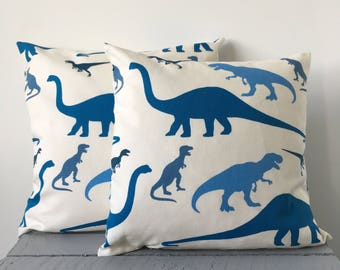 Blue Dinosaur Cushion Cover