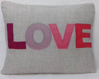 Organic Linen Word Cushion with LOVE applique