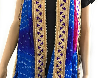 Tie and Dye Multicolor Stole, Bandhej/Bandhani Dupatta on faux Silk, Embellished Stole dupatta with golden gota patti lace. FREE SHIPPING